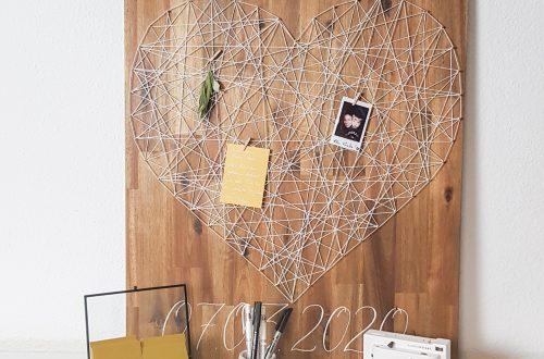 Gästebuch mit moderner Kalligraphie und Herz in String Art