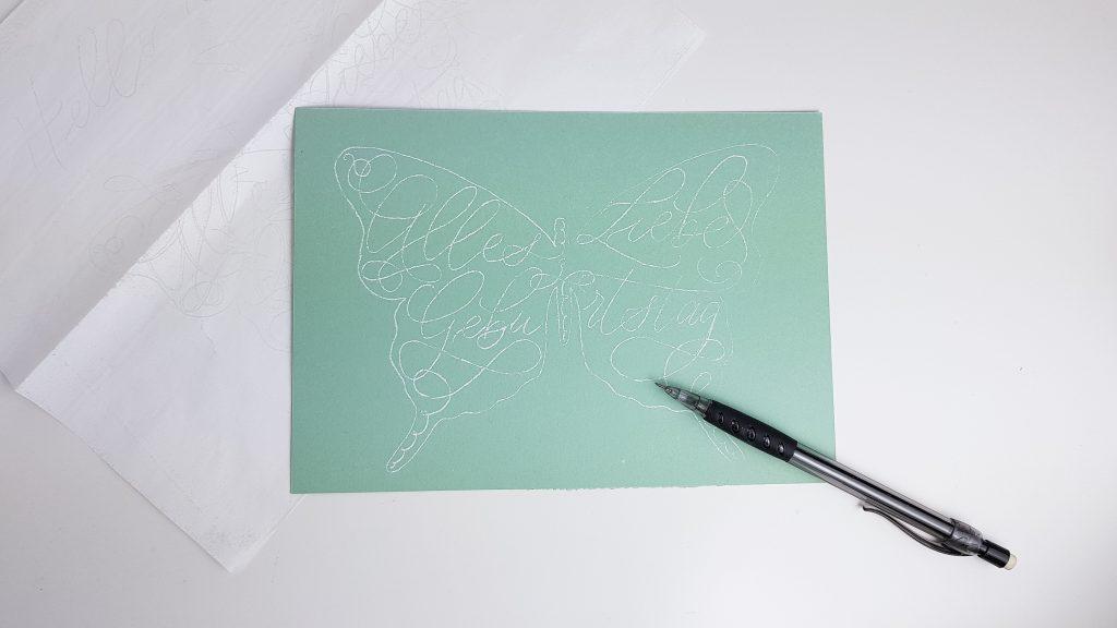 Vorlage des Schmetterlings für die Geburtstagskarte