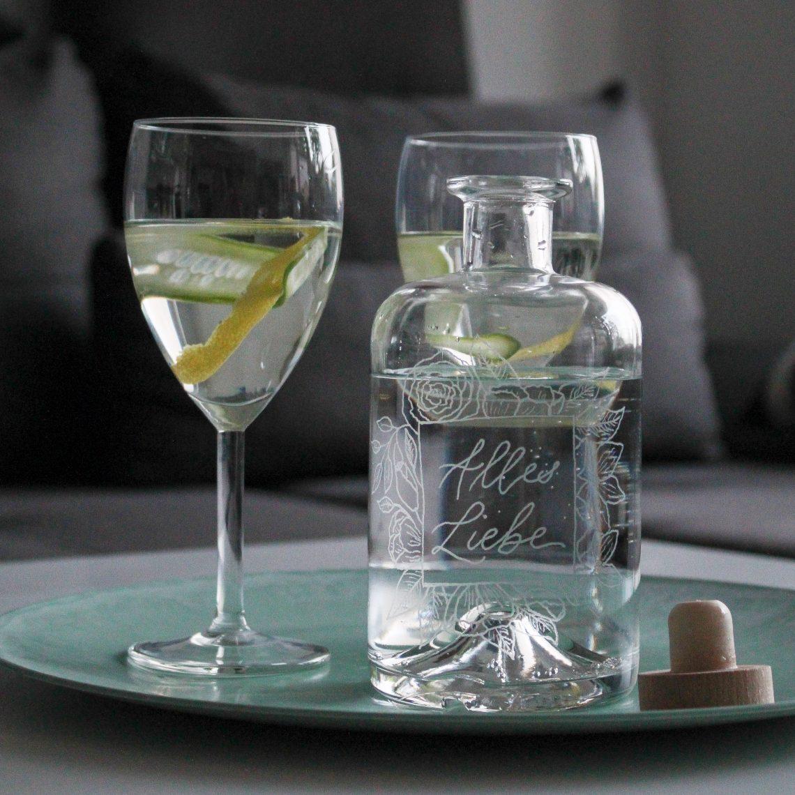 DIY Geschenk Flasche mit Gravur