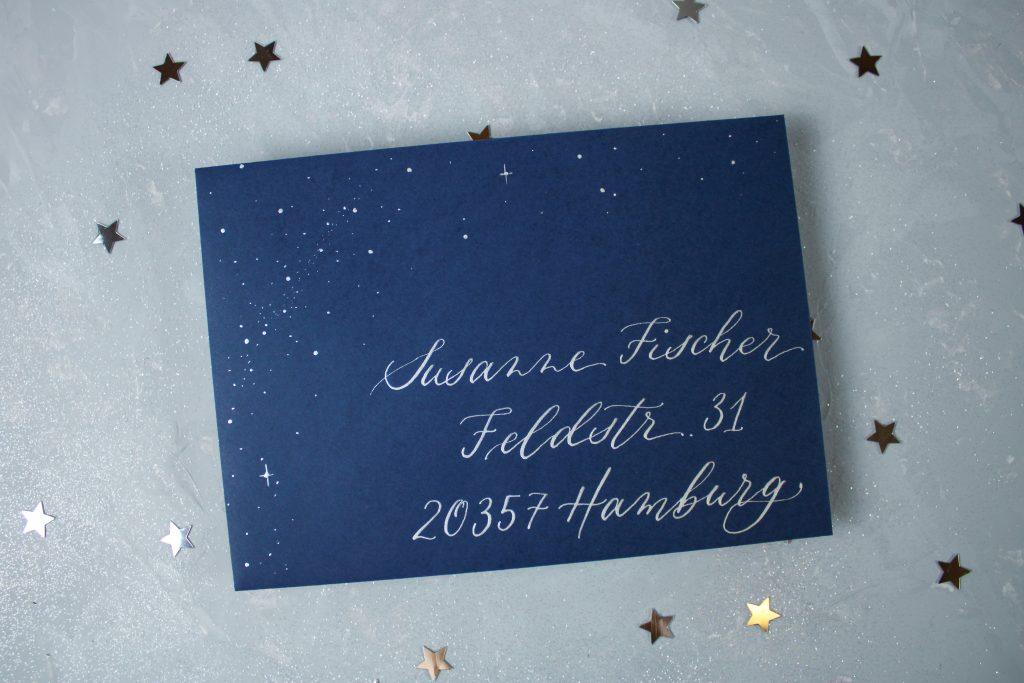 Mail Art Umschlag mit Sternenmuster