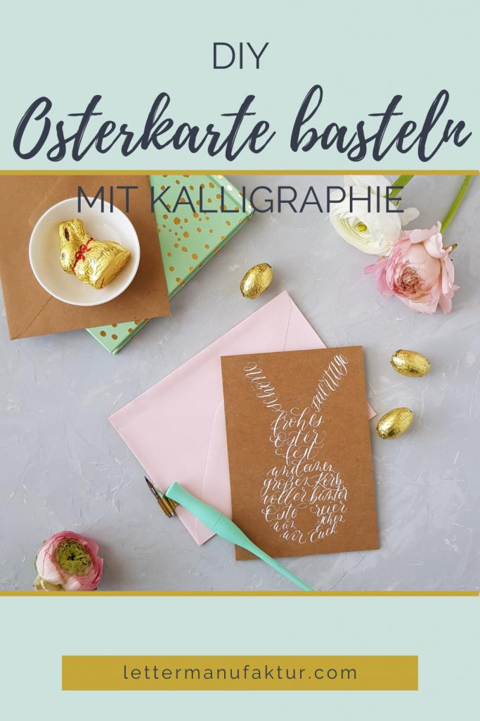 Osterkarte basteln mit Kalligraphie