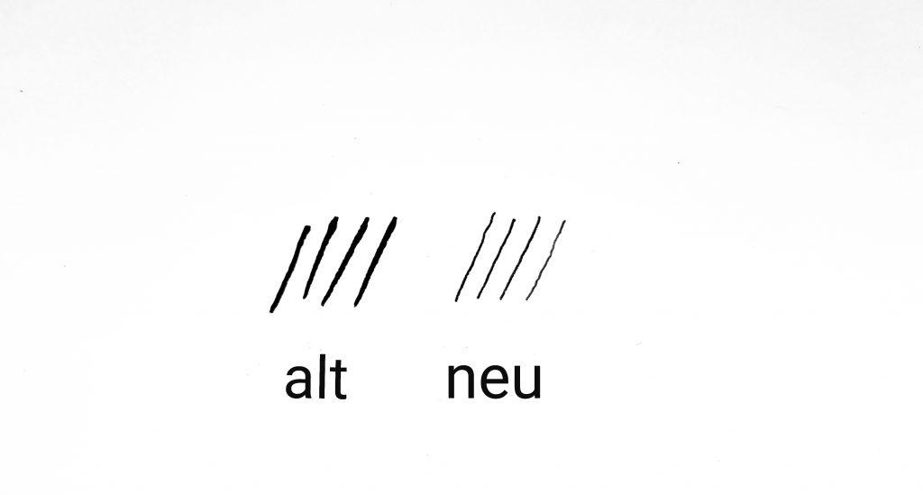 Strichstärke Kalligraphiefeder alt gegen neu